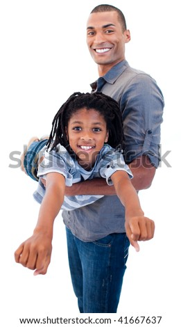 Afro-American father playing woth his son against white background