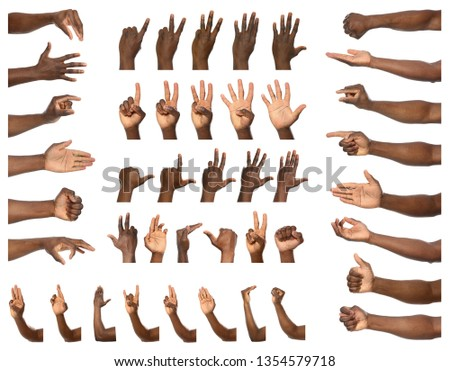 Afro-American man showing different gestures on white background, closeup view of hands #1354579718