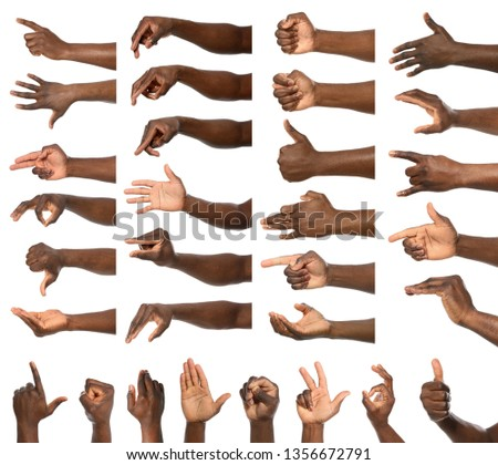 Afro-American man showing different gestures on white background, closeup view of hands #1356672791