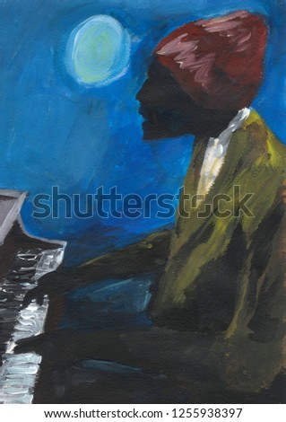 Afro-American musician plays the piano. Open air concert in a full moon. Black pianist. Jazz player in red hat and green jacket. Abstract artwork. Blue background. Acrylic painting.