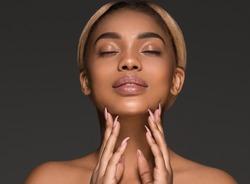 Afro american woman beautiful face skin portrait black beauty model