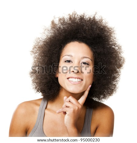 Afro-American young woman smilling, isolated on white background