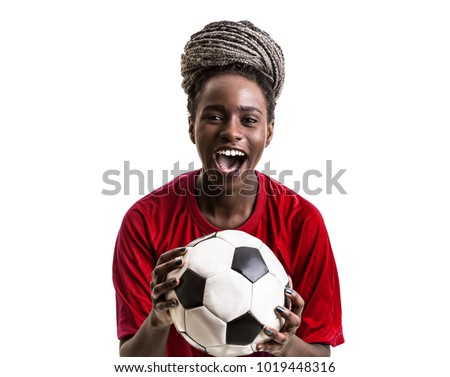 Afro girl wearing red uniform celebrates on white background #1019448316