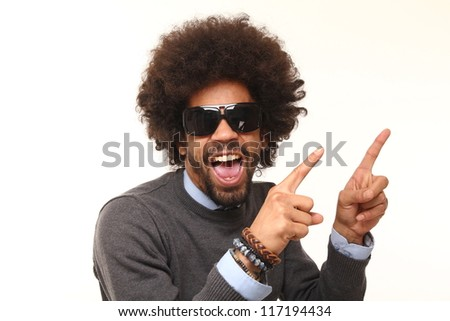 Afro man with funny faces