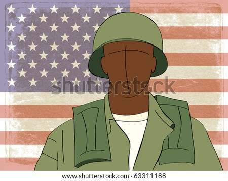 afroamerican soldier silhouette in front of flag