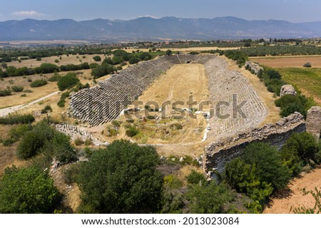 Afrodisias Ancient city.  (Aphrodisias) was named after Aphrodite, the Greek goddess of love. Aphrodite The most famous of cities called Aphrodisias. The UNESCO World Heritage. Air view, Aydın-TURKEY Foto stock ©