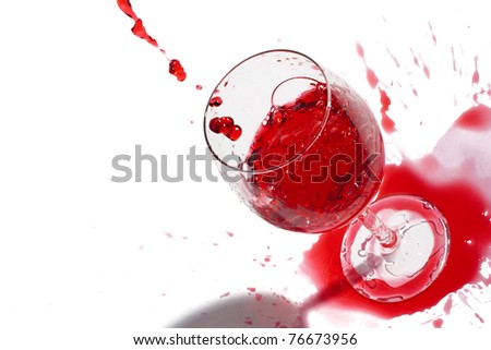 After a party. Not accurately juicy wine. Isolated over white. Copy-space.