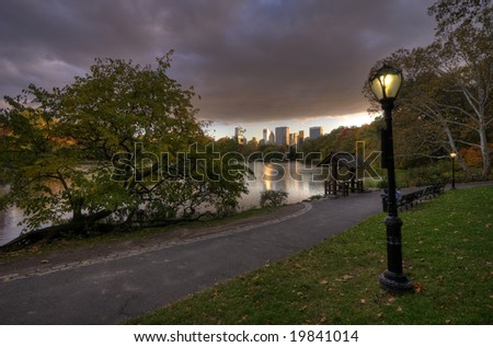 After a storm in Central Park New York City in Autumn