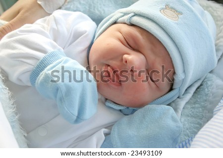 After childbirth, newborn baby in hospital.