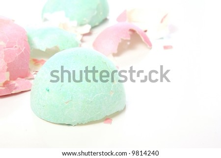 After Easter. Broken pieces of colorful pastel eggshells