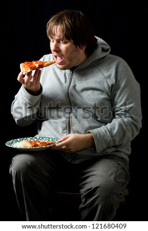 After Exercise This Fat Guy Is Eating A Pizza. Without ...