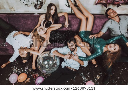 After Party. Rest. Balloon. Confetti. Celebration. Have Fun. Champagne. Birthday. Gift. Great Mood. Trendy Modern Nightclub. Young People. Karaoke Club. Smiling Girl. Bar. Holidays Concept.