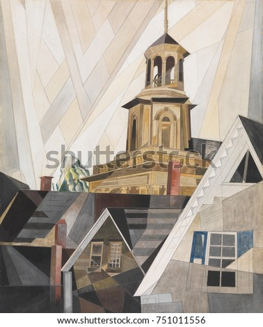 AFTER SIR CHRISTOPHER WREN, by Charles Demuth, 1920, American painting, watercolor, gouache. The old Center Methodist Episcopal Church in Provincetown, Massachusetts, painted with Precisionist ruled l Stock fotó ©