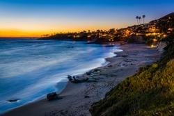 After-sunset view from cliffs at Heisler Park, in Laguna Beach, California.