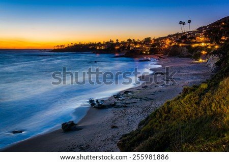 Stock Photo After-sunset view from cliffs at Heisler Park, in Laguna Beach, California.