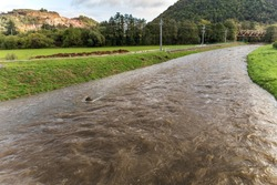 After the storm  and a lot of rain, the water level in Czech republic is very high. There is a risk of flooding. River Loucka near the town of Predklasteri.