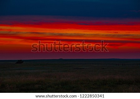 Afterglow near Rapid City in South Dakota, USA