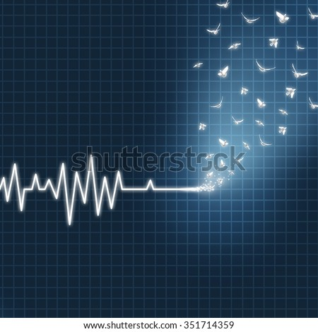 Afterlife concept as an ecg or ekg medical heart monitor lifeline  showing a flatline transforming into white doves flying upward towards heaven as faith metaphor for believing in life after death. Сток-фото ©