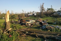 aftermath of a tornado in Mississippi