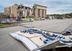 Aftermath of a tornado struck Fultondale, Alabama a northern suburb of Alabama around 10:30 p.m. on a Monday