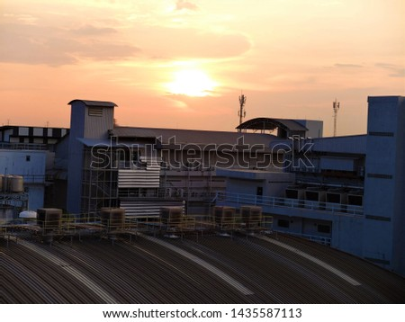Afternoon  cityscape, Building With Sunset, Architecture Industry. #1435587113