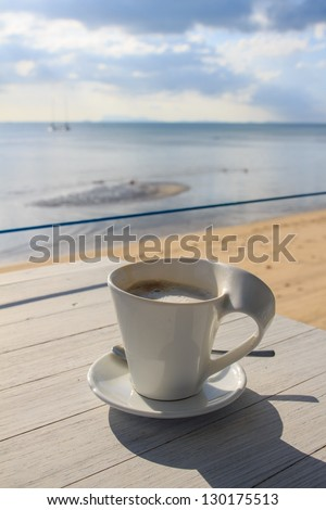 Afternoon coffee break by the beach