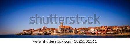 Afternoon Croatia, Umag. The coast of Um ag. Beautiful sea. Architecture of Umag, Croatia. #1025581561