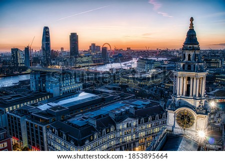 Afternoon in London, England, at Christmas Time, with The Thames, Blackfriars Bride and the Clock Tower of St Paul's Cathedral