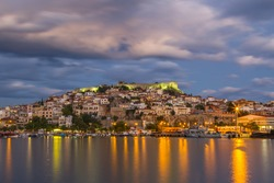 Afternoon in the port of the city of Kavala, in eastern Macedonia region, Greece, Europe.