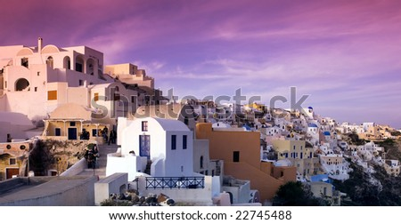 Afternoon picture from the village of Oia on the very picturesque island of Santorini, Greece.