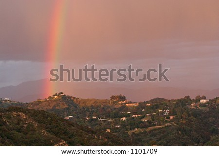 Afternoon Rainbow in Los Angeles touching the Santa Monica mountains in Beverly Hills