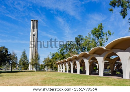 Photo of  Afternoon sunny view of the Bell Tower of UC Riverside at California
