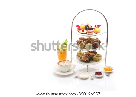 Afternoon tea on white background #350196557