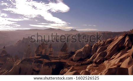 against the background of a wonderful Cappadocia. volcanic valley Stok fotoğraf ©