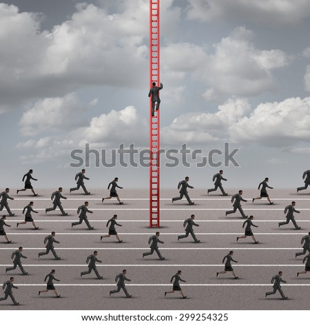 Against the current business concept as a metaphor for being different and innovative solutions to a competition as a group of runners in one direction and one business person going up a ladder.