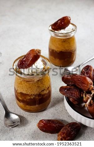 Agar-agar kurma, puding kurma or dates pudding, made of coconut milk, palm sugar and dates. Stock fotó ©
