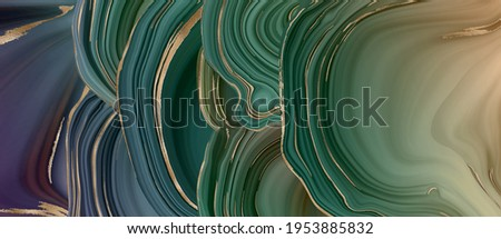 Agate marble fluid abstract background, gold stripe texture. Green marble agate with golden veins. Realistic abstract marbling texture and shiny gold background. Fluid marbling effect. Illustration