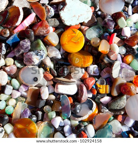 agate stone with many colorful mineral quartz rock crystal