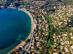 Agay Bay  Beach scenic and panoramic Aerial view in the French Riviera, Côte d'Azur, France