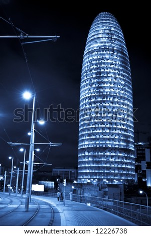 Agbar tower at night, Barcelona, Spain.