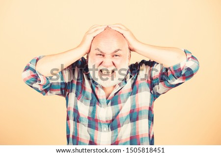 Age issues. Elderly people. Bearded grandfather grey hair. Hair loss. Man losing hair. Health care concept. Male pattern baldness genetic condition caused by variety factors. Early signs balding.