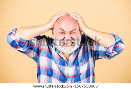 Age issues. Health care concept. Male pattern baldness genetic condition caused by variety factors. Early signs balding. Elderly people. Bearded grandfather grey hair. Hair loss. Man losing hair.