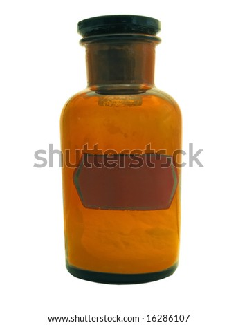 age-old glass large bottle for storage of powders