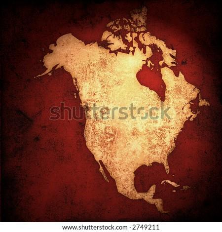 aged America map-vintage artwork - stock photo