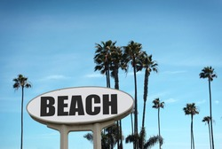 aged and worn beach sign with palm trees