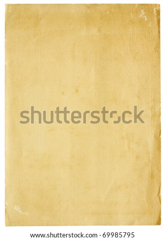 Aged and worn paper with abrasions, creases and rough edges. Blank with room for text or images. Isolated on White. Includes clipping path.