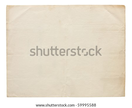 Aged and worn paper with creases and wrinkles. Completely blank with room for text or images. Includes clipping path.