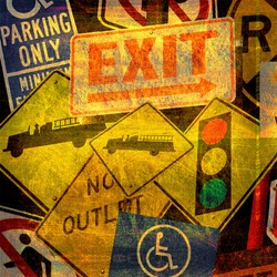 aged and worn vintage photo of a collection of road signs