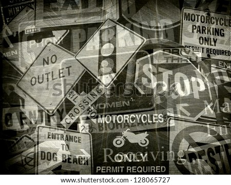 aged and worn vintage photo of a collection of signs