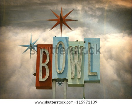 aged and worn vintage photo of bowling alley sign